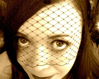 Black Birdcage Veil Bandeau 9 inch with chenille dots Smoking Hot