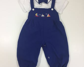 Boy's Boat Overalls - Size 18 Months - Vintage Outfit - Vintage Picture Outfit - 18 month Overalls - Vintage Overalls - Vintage Baby Outfit