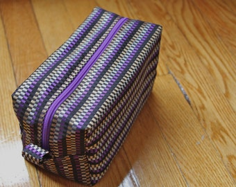 Rectangle Cosmetic Pouch- Purple and Black Checked