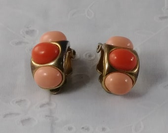 Vintage Clip On Earrings - Coral Lucite Beads in Gold Toned Setting