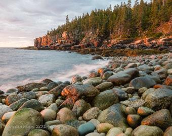 Rocky Maine Shoreline Photo - Acadia National Park Boulder Beach