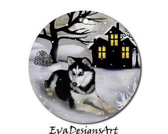 SIBERIAN HUSKY DOG Winter Art Pet Porcelain Ornament Round shape