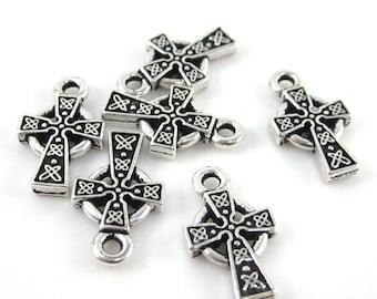 20 Silver Tierracast Small Celtic Crosses