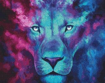 Lion Cross Stitch Kit, 'First Born', Jonas Joedicke, Modern Cross Stitch, Jojoes Art,