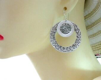 Large Circle Earrings,Circle Earrings,925 Silver Circles,Silver Earrings Textured,Textured Silver Dangles,Loop Earrings,Boho Loop Earrings