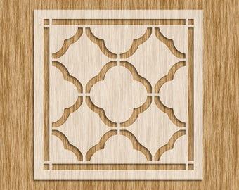 "Moroccan Pattern Tile Design Stencil - Sku PM0102 (8.5"" x 8.5"")"