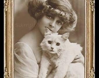 Vintage Lady & White Cat Miniature Dollhouse Art Picture 6850