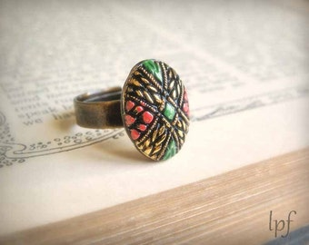 Ring, Marrakesh. Vintage oval glass mosaic stone on antiqued brass, adjustable cocktail ring