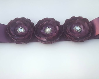 Purple Bridal Sash Bridal Rhinestone Sash Eggplant Wedding Sash Eggplant Bridal Belt Wedding Belt Purple Flower Sash Eggplant Flower Sash