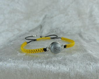 Geeky yellow vitamin, recycle button, adjustable bracelet bracelet bracelet