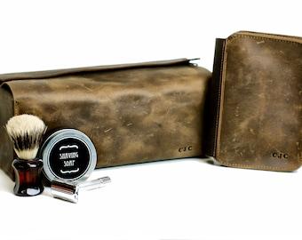 Men's Shaving Gift Set Leather Toiletry Bag and Shaving Kit Dopp Bag Travel Kit Case 3rd Wedding Anniversary Husband Gift for Him Wet Shave