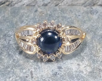 14K Yellow Gold 5.00ctw Created Sapphire Gemstone Ring w/ Diamond Accents Size 9