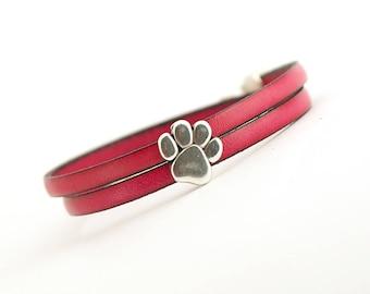 Fuchsia Leather Bracelet, Paw Print Bracelet, Cat dog lovers Jewelry, Pet Lover Bracelet, Animal Bracelet, Gift for Animal Lover