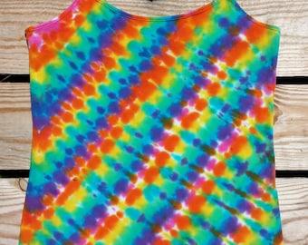 Women's XL Rainbow Tie Dye Tank Top, Juniors XL(15-17),  Hippie Top, Yoga Cami, Ready to Ship