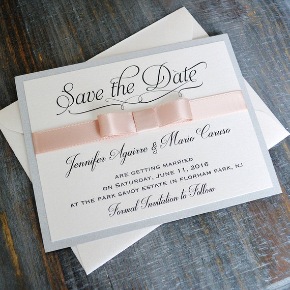 BOW Save The Date - Silver and Blush Save the Date Card with Antique Pink Ribbon Bow - Custom colors available