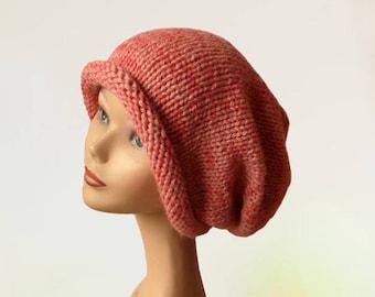 Slouchy Beanie Hat - Slouchy Dreadlock Hat - Oversized Beanie Hat - Slouchy Hat - Women Hat - Slouchy Pink Hat - Natural Fiber Hat