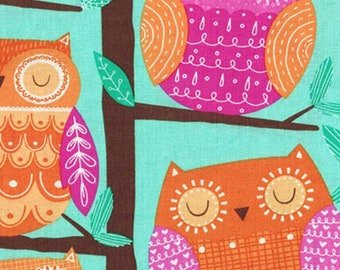 Perched Owls Cotton Fabric by the yard and by the half yard