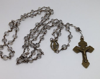 Rosary Catholic Traditional Handmade Clear Beads with Bronze Wire Wrapped Stems and Beads