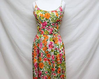 Colourful 1960s Floral Bouquet Print Day Dress