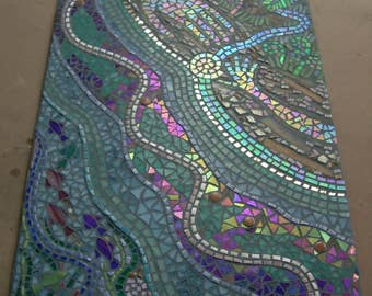Large mosaic wall art, Custom fine art, Your Design, stained glass, iridescent glass, porcelain tile, Priced per square foot
