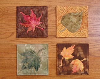 Elegant Quilted Leaf Coasters - Set of 4