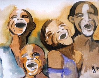 """Figurative art, Original watercolor painting, children laughing, Size13.8"""" x 9.8"""" Cotton Paper Guarro 240 gr/m2 Made in Chile"""