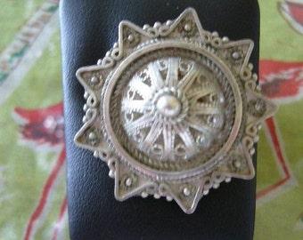 VINTAGE SILVER JEWISH Brooch, Yemeni Jewelry Style, Israeli Made at A Vintage Revolution