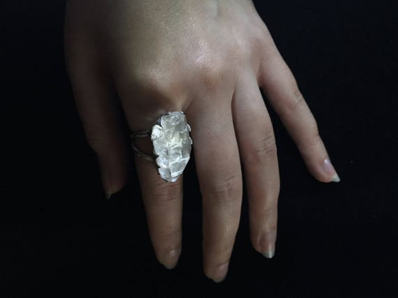 Solid Sterling Silver Rough Raw Clear Quartz Ring Huge Gemstone Flash Double Banded Raw Natural Rock Quartz with Inclusions All Sizes