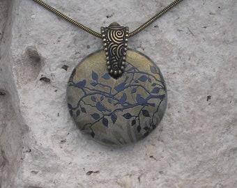 Bird Necklace Fused Glass Earthy Bronze Bird Pendant