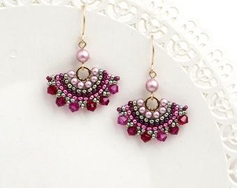 Pink & green swarovski crystal beaded earrings, Fan dangle earrings women, Pastel earrings spring gift for her