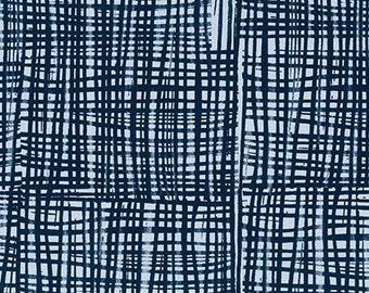 Sale - Blue Fish Net Look Fabric, Robert Kaufman, Marks 16352 300 Storm, Valori Wells, Screen Design Quilt Fabric, Cotton