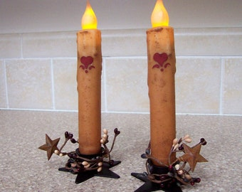 """Primitive Candle Timer tapers hearts 7"""" + star holders with ivory pip berries,  set of 2"""