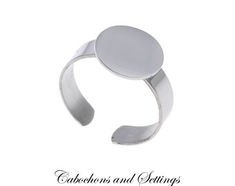 Quality Stainless Steel Ring Blank with 12mm Pad.  Nice Rings to Embellish. 18mm Adjustable  - AUSTRALIA