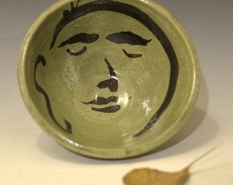 Green Buddha Face Serving Bowl in Raku Ceramics