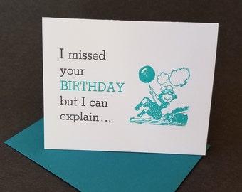 Funny Belated Birthday Letterpress Card