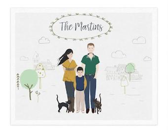 Family portrait, Printable portrait illustration, Customized portrait, Family illustration, Made to order family portrait, Family photo