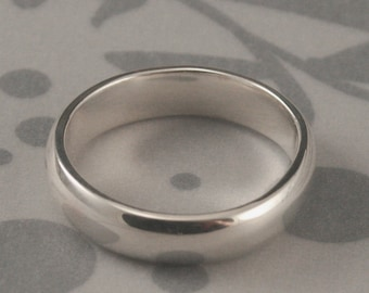 Plain Jane 5mm Wide Solid Sterling Silver Wedding Band--Rounded Traditional Ring--Simple Silver Wedding Band