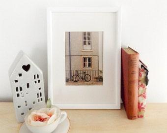 Bicycle photo / Lisbon / travel photography / tiled building / cityscape / vintage / architecture photo / home decor / wall art / fine art