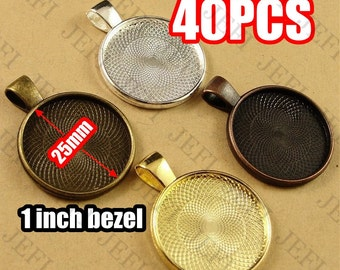 40 Pendant Trays- 25mm Round Bezel Cup Cabochon Mountings W/ Loop, Bronze/ Antique Copper/ Antique Silver/ Silver/ Gold/ GunMetal