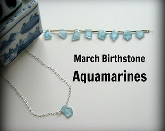 Aquamarine Blue Necklace - March Birthstone Sterling Silver Petite Geometric Shaped Pendant Gift Birthday Daughter Wife Mother Sister Cousin