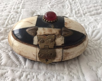Vintage Bone and Brass Oval Box with Blue Velvet Lining with Ruby Glass Stone and Brass Hinges