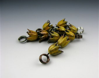 Enameled Tulip Bud / Yellow Enamel / Made to order