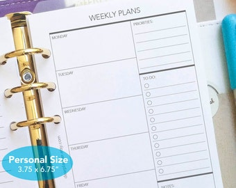 PRINTED Week on one page - Undated weekly planner insert - Printed wo1p planner insert - Personal size insert - Planner refill - P07
