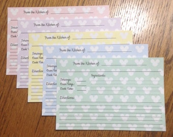 Recipe Cards -- 50 Personalized 4x6 Double Sided decorated with a variety of Mickey Mouse silhouette