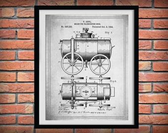 Patent 1894 Beer Wagon - Art Print Poster - Wall Art - Bar Room - Man Cave - Sports Bar Art - Beer Making Process - Invention