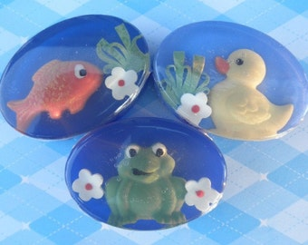 Childrens Glycerin Soap Frog, Goldfish, Ducky in pure lime, orange, and lemon scent