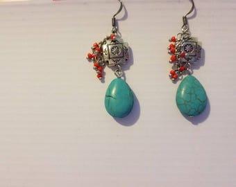 Turquoise beaded fish hook earrings