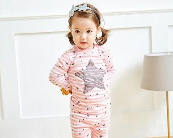 12M-7T 100% Cotton 2pcs Infant Kids GirlsLoungewear Pajama Sleepwear Set Star Pink