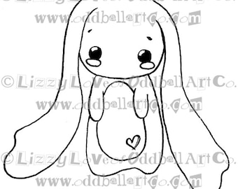Digi Stamp Digital Instant Download Whimsical Kawaii Bunny Image No. 97 by Lizzy Love