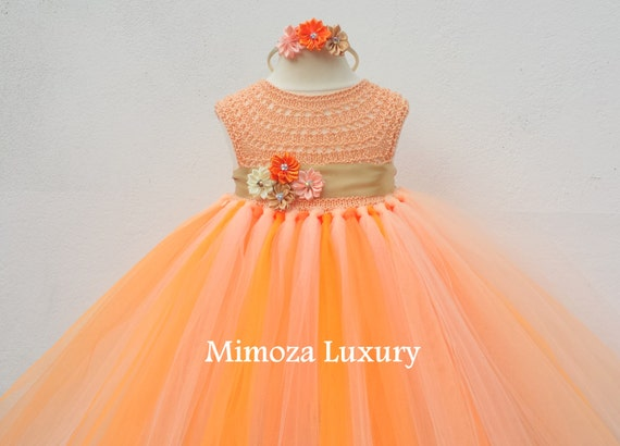 Orage Peach Gold Flower girl dress,peach gold tutu dress,bridesmaid dress, princess dress, crochet top tulle dress, hand knit tutu dress